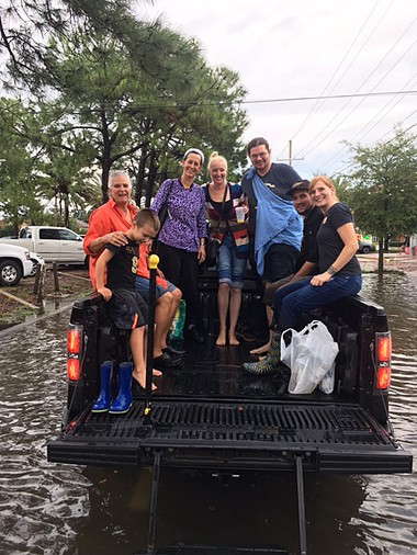 Susan Spicer and her staff get a lift to their cars from a staffer's family member at Mondo on Aug. 5, 2017. The restaurant dining room took on 2 to 4 inches of water from the heavy rains. (Photo from Mondo)