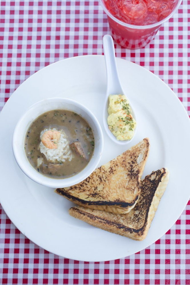 Chicken and sausage gumbo with grilled cheese and potato salad at Heard Dat Kitchen on Felicity Street in New Orleans. (Photo by Chris Granger, NOLA.com | The Times-Picayune)