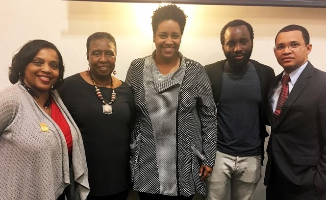 Andreanecia Morris, Linetta J. Gilbert, Hermione Malone, Tunde Wey and Lamar Gardere at the Propeller offices on Washington Avenue in New Orleans for 'SAARTJ: A Discussion on Race, Disparity & the Future,' held March 15, 2018. (Photo by Ann Maloney, NOLA.com | The Times-Picayune)
