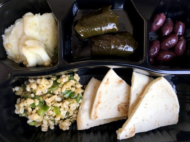 The vegan platter, which is new at the 2018 Greek Fest, will include, top row, from left, skordalia (potato garlic dip), dolmades (stuffed grape leaves) and Kalamata olives as well as a cold grain and pea salad and pita. (Photo by Frankie Prijatel, NOLA.com | The Times-Picayune)