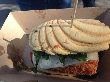 At the 2013 Oak Street Po-Boy Festival on Sunday, the Wayfare stand on Joliet Street was selling its Portuguese Man Oâ War Po-Boy with house-made chorizo on top of a salt cod brandade cake.