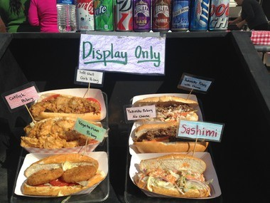 At the 2013 Oak Street Po-Boy Festival on Sunday, Ninja sushi displayed their annual selection.