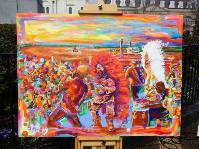 The 2018 French Quarter Festival poster by New Orleans action artist Frenchy (Photo by Doug MacCash, NOLA.com | The Times-Picayune)