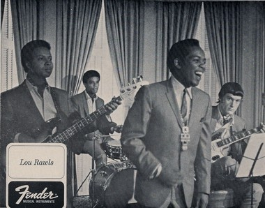 Guitarist Steve Blailock, at right, in a vintage advertisement featuring the Lou Rawls band.