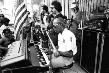 Professor Longhair and his band perform outside of his home at 1738 Terpsichore Street in 1979.