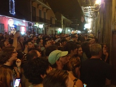 The crowd outside Preservation Hall temporarily blocked traffic during the Foo Fighters' surprise show on May 17, 2014.