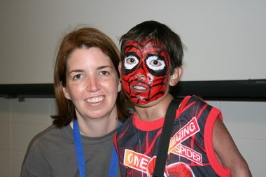 Seth Turner, transformed into Spiderman, with Ashley Belding at Camp Pelican