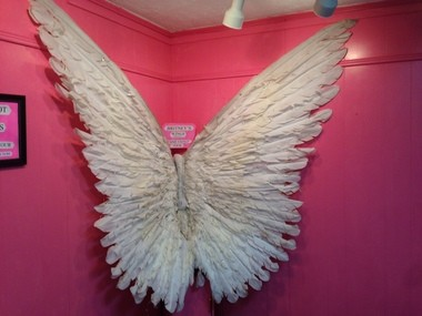 Feathered wings worn by pop superstar Britney Spears are on display at the Kentwood Museum in Tangipahoa Parish.