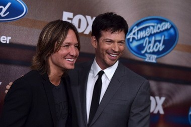 "Keith Urban, left, and Harry Connick, Jr. arrive at the ""American Idol XIV"" finalists party at The District by Hannah An on Wednesday, Mar. 11th in Los Angeles. (Photo by Jordan Strauss)"