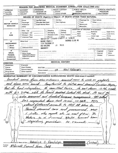 The Mississippi State Medical Examiner's Report of Death Investigtion for Eddie Bo.