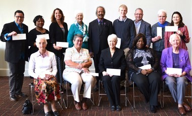 In March 2015 Toussaint ceremonially presented $26,000 in grants to 14 New Orleans organizations (Photo courtesy NOAAHH)