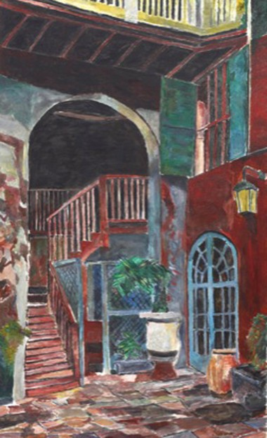 'Rampart Street Courtyard,' a painting by Bob Dylan to appear at NOMA, April 22 to July 31 (Photo courtesy the New Orleans Museum of Art, on loan from Black Buffalo Artworks, EL.2016.15.6, copyright Bob Dylan)