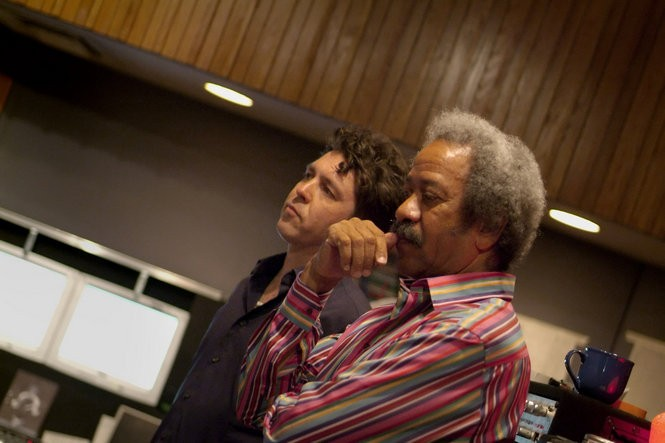 Joe Henry, left, and Allen Toussaint at work in the recording studio in 2005. Henry produced Toussaint's final album, 'American Tunes,' due out from Nonesuch Records on June 10, 2016. (Photo by Mieke Kramer)