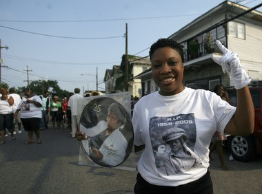 Hundreds gathered along St. Bernard Ave. to honor the legend of Michael Jackson with a second-line led by the Revolution Social Aid & Pleasure Club Sunday, June 28, 2009.