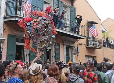 Revelers fill the streets as Arcade Fire and Preservation Hall hold a second line tribute through the French Quarter in honor David Bowie on Saturday, January 16, 2016.