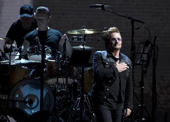 Irish rockers U2 kick off their world tour of the Joshua Tree in Vancouver, B.C., Friday, May 12, 2017. (THE CANADIAN PRESS/Jonathan Hayward)
