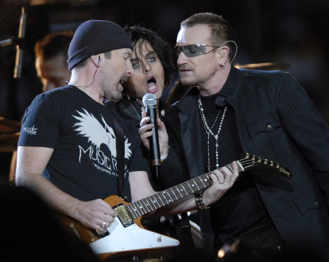 The Edge, Billie Joe Armstrong of Greenday, and U2's Bono help welcome the Superdome back into operation in 2006. (Staff photo by Matt Rose / NOLA.com | The Times-Picayune)