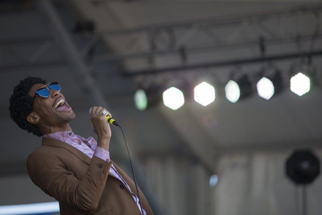Jon Batiste with The Dap-Kings on the Gentilly State at the Jazz & Heritage Festival at the Fairgrounds in New Orleans on Sunday, April 29, 2018. (Photo by Chris Granger, NOLA.com | The Times-Picayune)