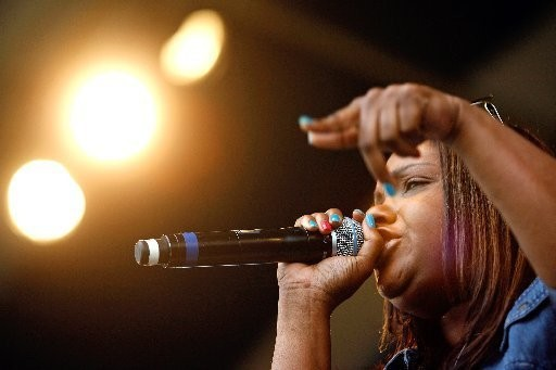 New Orleans rapper Mia X performs at the Ogden Museum of Southern Art.