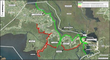 Levees in red are 1 foot or lower than required to meet 100-year storm surge requirements in St. Mary Parish.