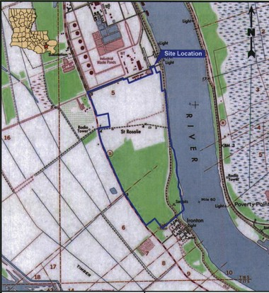 The proposed RAM Terminals LLC coal and petroleum coke facility would be on the property marked in blue.