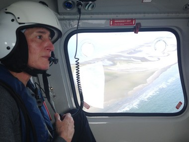 Interior Secretary Sally Jewell took a foggy helicopter ride on Thursday over Breton Island off Plaquemines Parish to observe how coastal erosion has eaten away at that federal barrier island. Breton Island is visible in the distance.