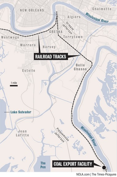 Coal trains destined for the RAM Terminal export site at Myrtle Grove would travel through Jefferson Parish.