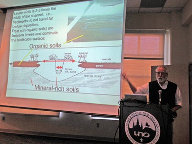 Louisiana State University restoration ecology professor Eugene Turner discusses Mississippi River sediment availability issues with members of the Diversion Subcommittee of the Governor's Advisory Commission on Coastal Protection, Restoration and Conservation on Wednesday.