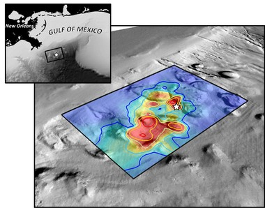 Hydrocarbons from the Deepwater Horizon spill overlaid on sea floor bathymetry of the study area. The white star identifies the location of the BP Macondo well.