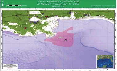 According to the U.S. Coast Guard, aerial spraying of dispersants was limited to the area in pink. The spraying did not cover the entire area.