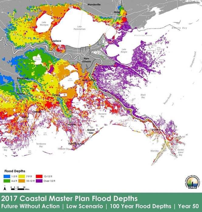 2017 Coastal Master Plan Flood Depths Map