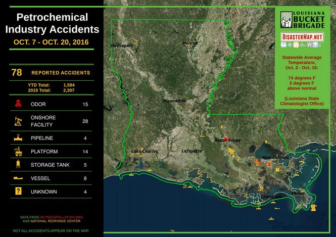 A map shows the approximate locations of petrochemical incidents reported to the U.S. Coast Guard's National Response Center and through call lines for the Louisiana Bucket Brigade's iWitness Pollution Map project from Oct. 7 to Oct. 20, 2014. (Image courtesy Louisiana Bucket Brigade/DisasterMap.net)