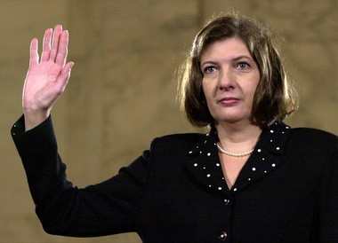 Texas Supreme Court Justice Priscilla Owen is sworn in on Capitol Hill Tuesday, July 23, 2002, in Washington, prior to a Senate Judiciary Committee hearing on her nomination to be a judge of the 5th U.S. Circuit Court of Appeals. (AP Photo/Dennis Cook)