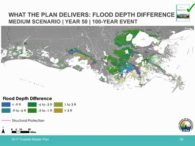 This map shows what state officials say will be the flood improvement resulting from building all of the projects in the state's proposed 2017 update of the coastal Master Plan. The map shows the difference between with and without the plan for flood depths resulting from surge caused by a hurricane with a 1 percent chance of occurring in any year, a so-called 100-year storm.