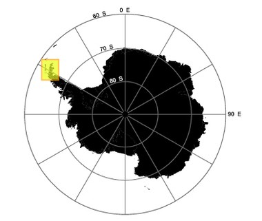 The yellow box shows the location of the Danger Islands at the north end of the Antarctic Peninsula.