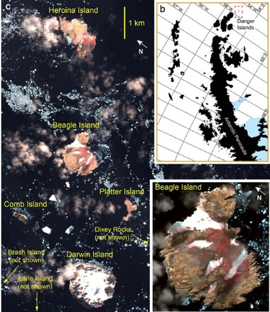Map showing a closer view of the Danger Islands, top right, and satellite views of some of the islands.