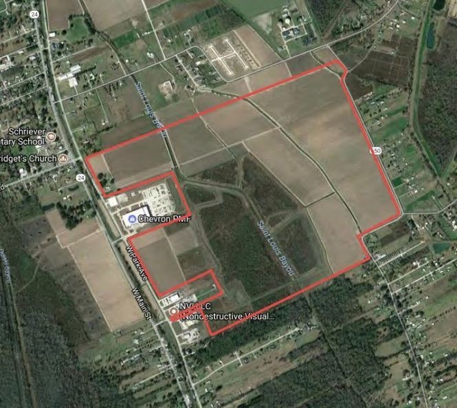 A sugar cane farm known as the Evergreen property (outlined in red) was selected as the resettlement site for the residents of Isle de Jean Charles, a rapidly-disappearing island on Louisiana's coast. State officials announced Tuesday (March 20) that they will purchase the land for $11.7 million.