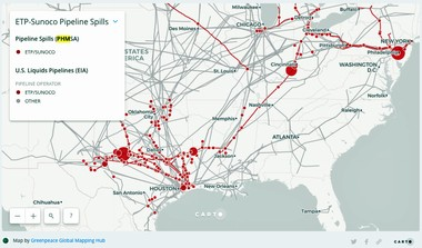 This map shows where the pipelines and spills are located. An online version includes links to summaries of each incident.