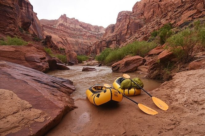 Kokopelli and Alpacka pack rafts on the Grand Staircase-Escalante National Monument in Utah.