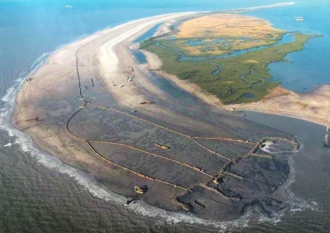 A view from the air of the Whiskey Island restoration. (Courtesy of the Coastal Protection and Restoration Authority)