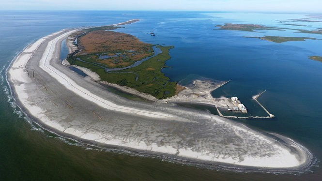 An aerial view of Whiskey Island during its multi-year restoration. (Courtesy of the Coastal Restoration and Protection Authority)