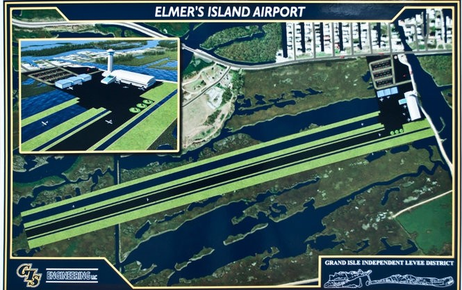 A design for the proposed airport calls for a tower, terminal, three hangars and two runways. (Image courtesy of the Louisiana Dept. of Wildlife and Fisheries)