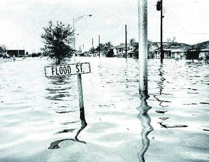 Many New Orleanians remember how Hurricane Betsy inundated the 9th Ward, as seen in this photo.