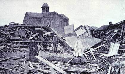 The 1900 Galveston hurricane was the deadliest in U.S. history, killing up to 8,000 residents as the violent ocean surge swept across the Texas island city with no warning.