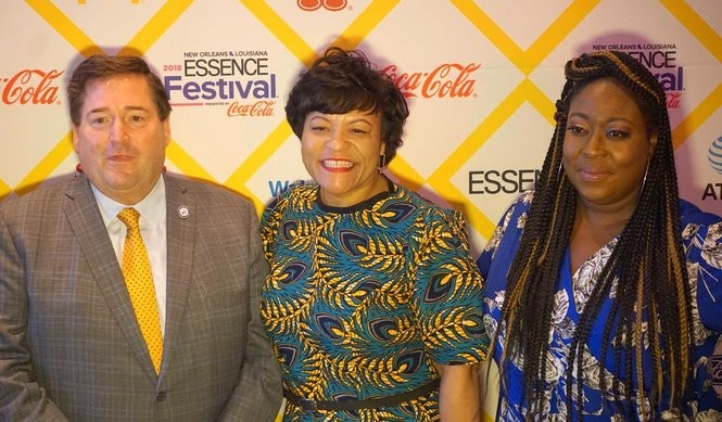 Lieutenant Governor Billy Nungesser, Mayor Latoya Cantrell and comedian Loni Love at the official opening of Essence Fest 2018 (Photo by Doug MacCash, NOLA.com | The Times-Picayune)