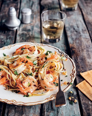 Pasta with Shrimp, Garlic and Parsley from 'Treme: Stories and Recipes from the Heart of New Orleans' (Chronicle Books, July 2013) by Lolis Eric Elie. (Photos by Ed Anderson / Chronicle Books)