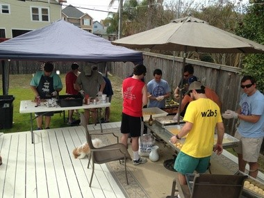 Members of Deuce Pigalow, Pork Gigolo at a backyard tasting earlier this season.