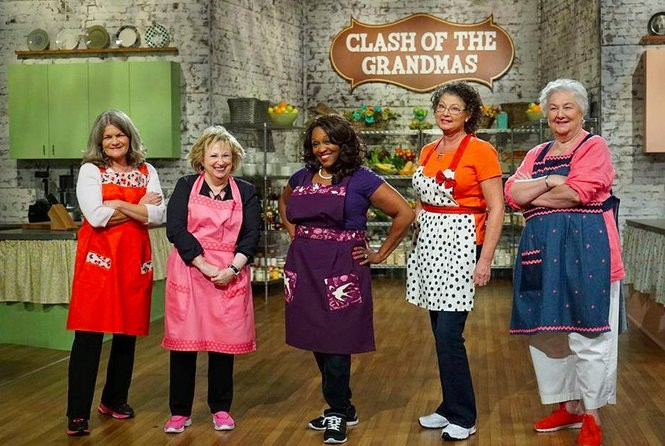 """New Orleanian Anne Leonard, at far right with other contestants, won $10,000 on this week's Food Network episode of """"Clash of the Grannies."""" (Food Network photo)"""