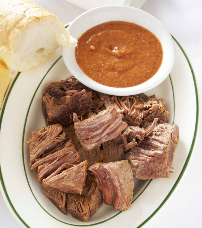 Boiled Beef Brisket at Tujague's restaurant is served with a spicy horseradish sauce. Recipe from 'Tujague's Cookbook' by Poppy Tooker, Pelican Publishing Company 2015. (Photo by Sam Hanna)