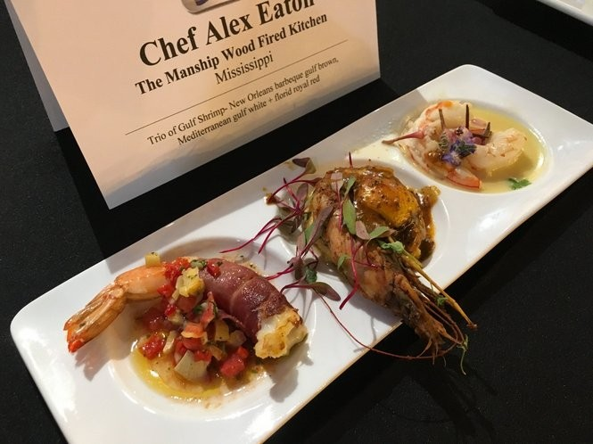 Chef Alex Eaton won the Great American Seafood Cookoff on Saturday (Aug. 6, 2016), with his trio of gulf shrimp. Eaton is executive chef at Manship Wood Fired Kitchen is in the Belhaven neighborhood of Jackson, Miss. The cookoff is sponsored by the Louisiana Seafood Board. (Photo Ann Maloney, NOLA.com | The Times-Picayune)